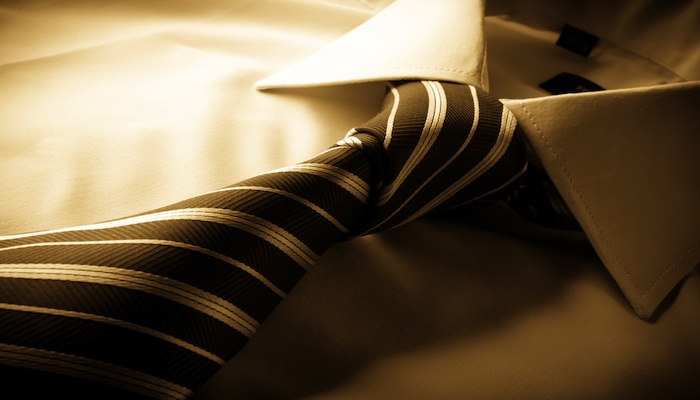 silk tie tied on shirt