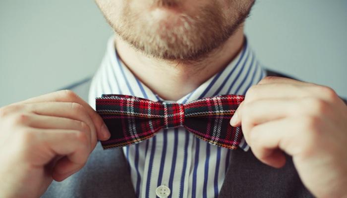 A tartan bow tie