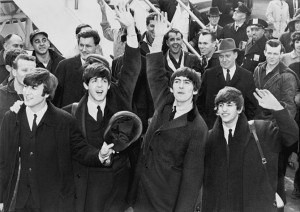 The Beatles wearing knitted ties