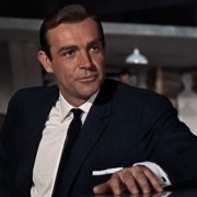 Sean Connery's James Bond wearing a blue knit Tie