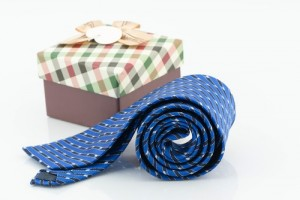 Blue polyester tie and presentation boxes