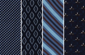 Four woven silk tie desisn lined up next to each other