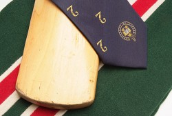 A sports club tie lying over the top of a cricket bat