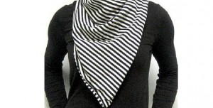 woman wearing a bandit style scarf